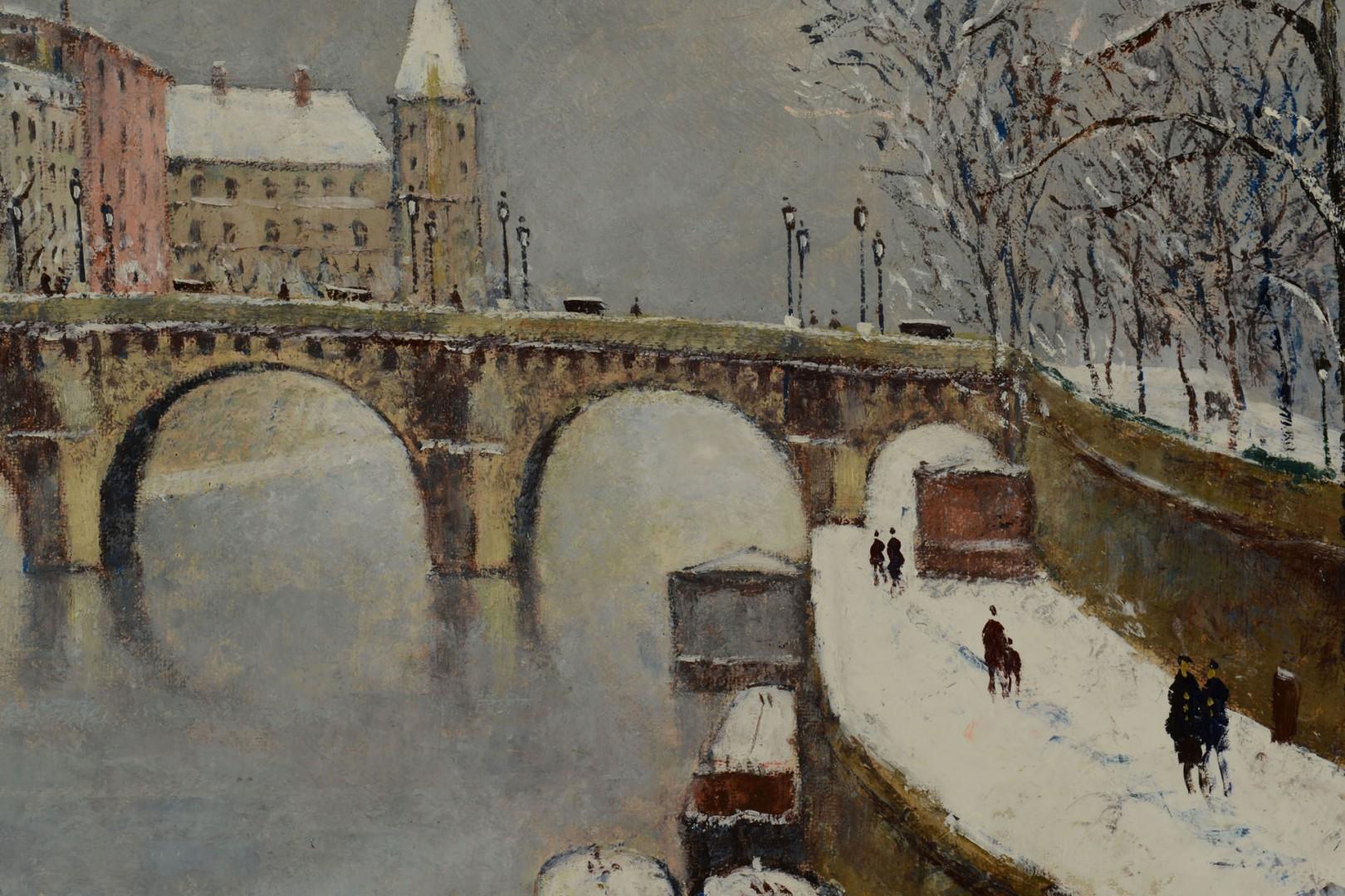Lot 206: Louis Dali oil on canvas, Paris Winter Scene