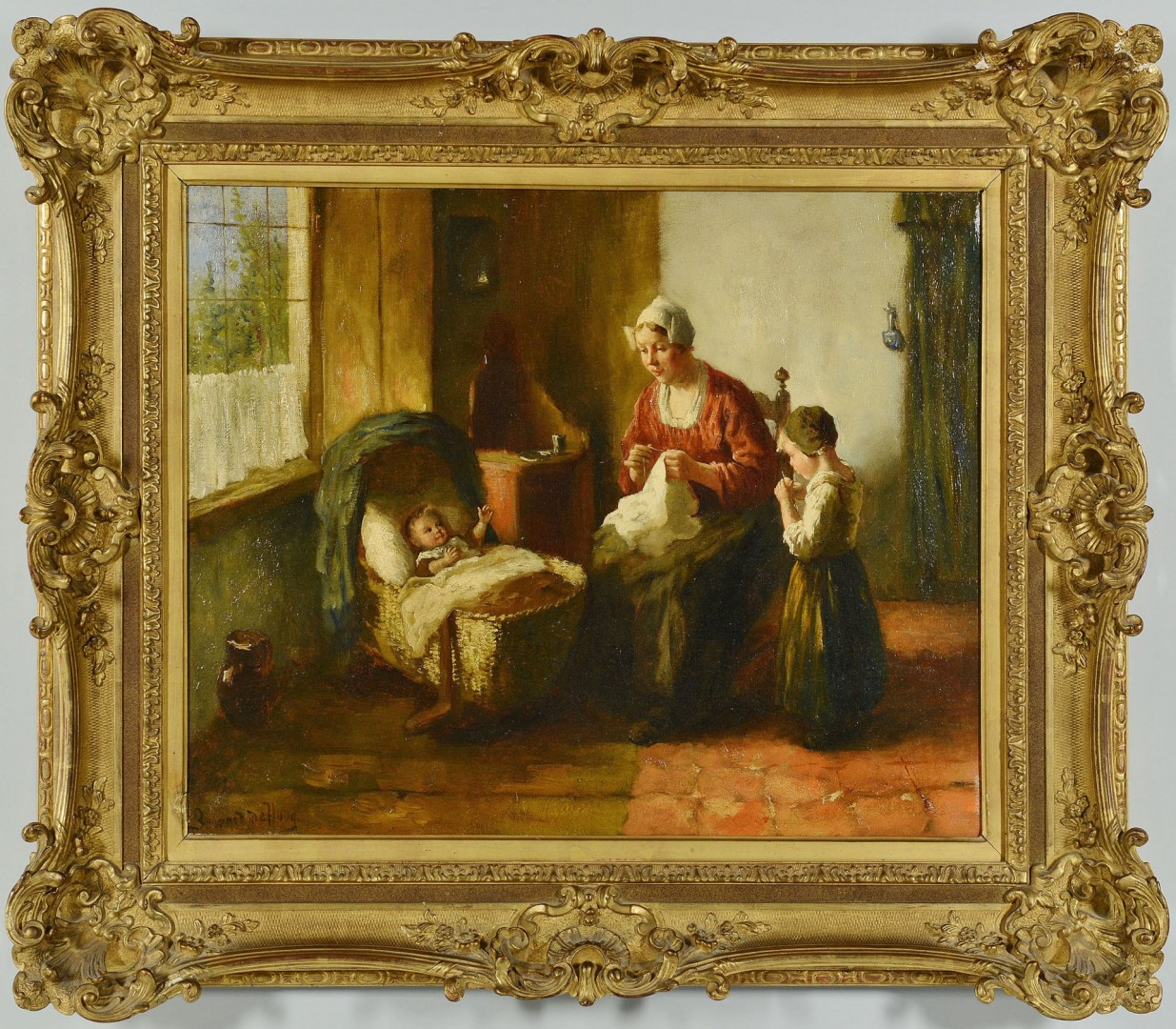 Bernard De Hoog oil on canvas, Mother and Children