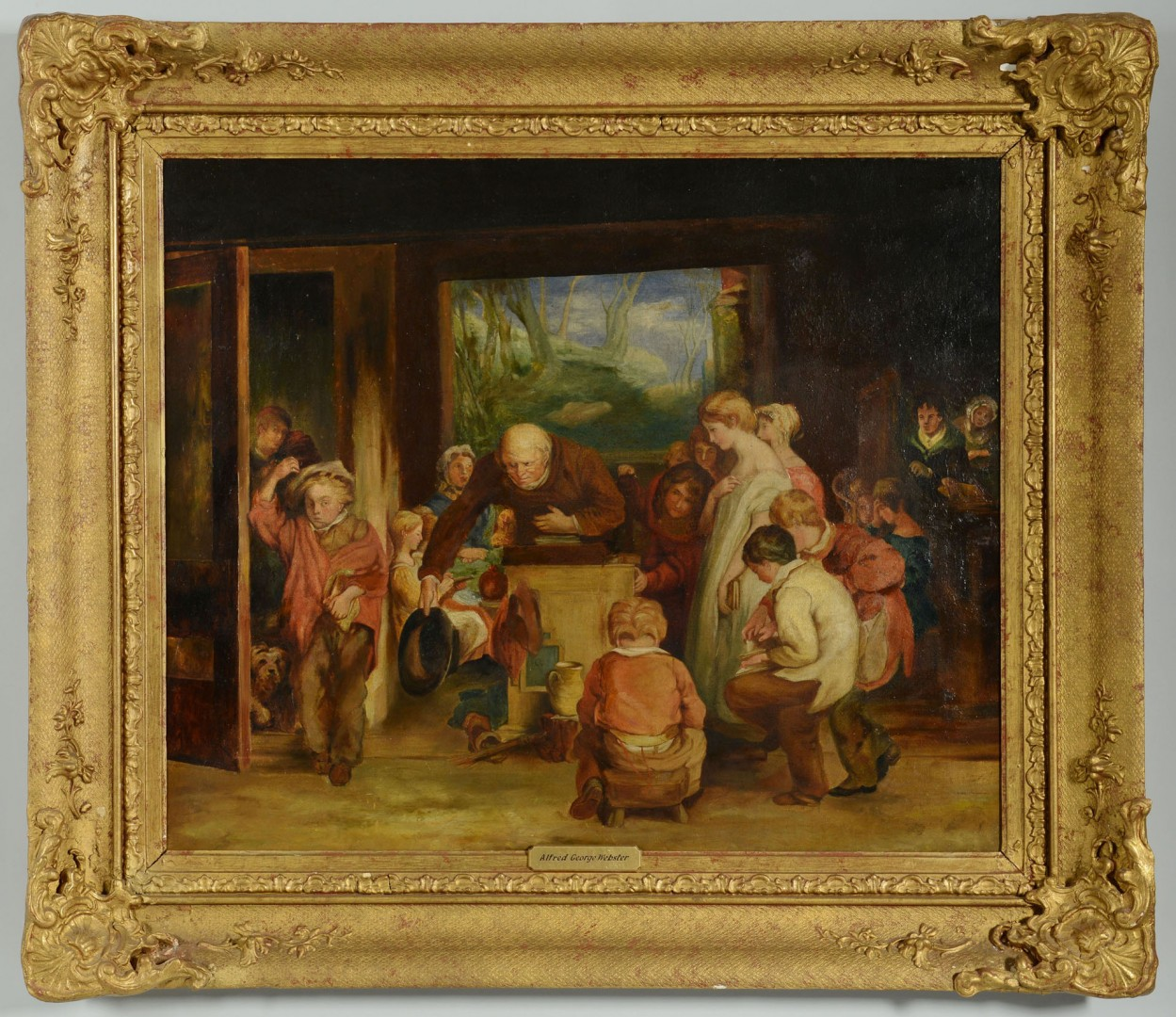 Lot 209: 19th C. O/C Genre Scene, attr. Webster