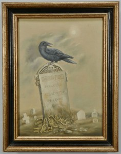 Lot 214: Werner Wildner oil on canvas, Raven in a Graveyard