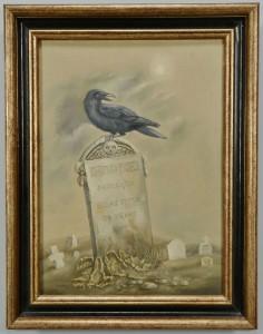 Lot 214: Werner Wildner oil on canvas, Raven in a Graveyard