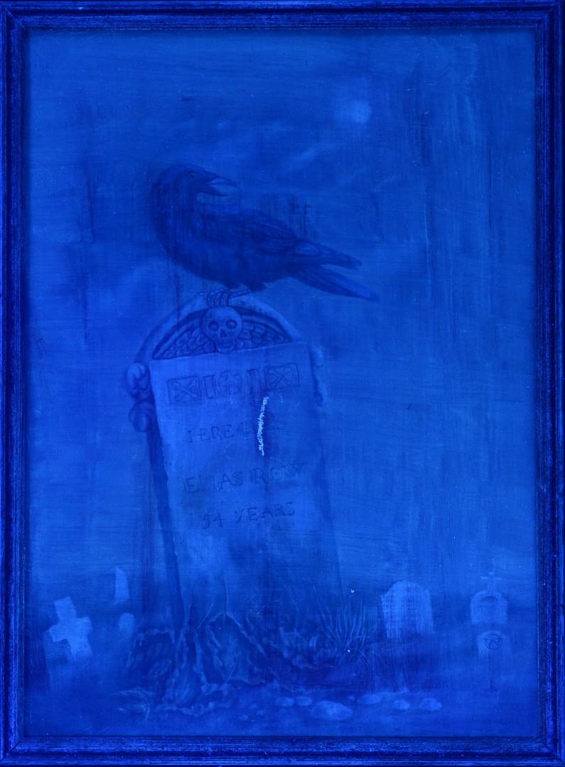 Werner Wildner oil on canvas, Raven in a Graveyard