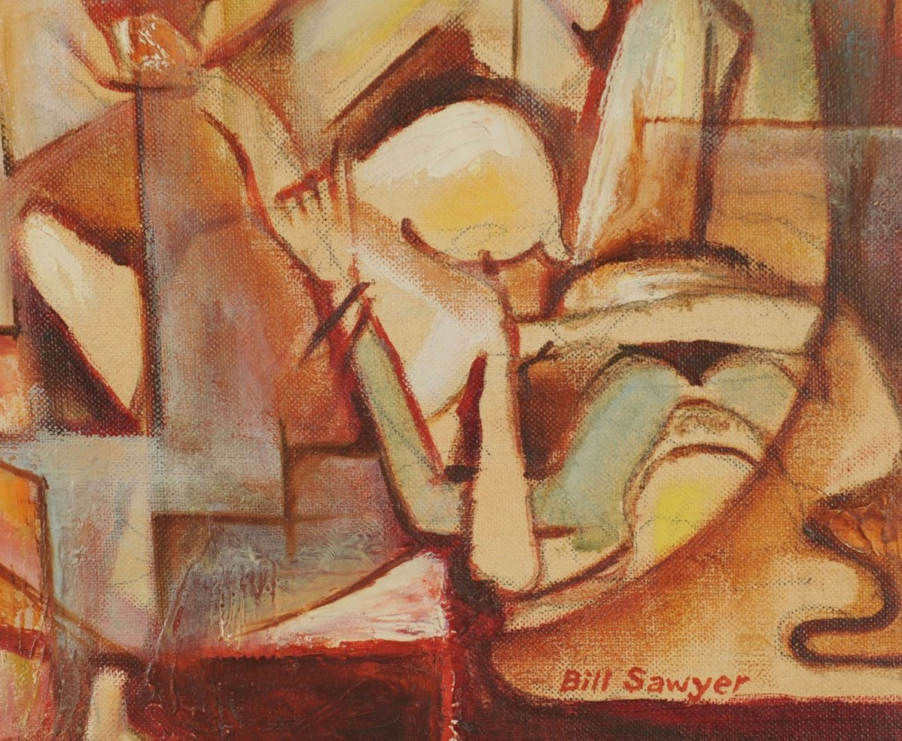 Bill Sawyer oil on board Abstract
