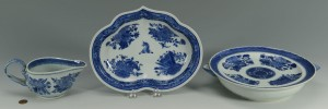 Lot 21: 3 Chinese Export Porcelain Blue Fitzhugh Items