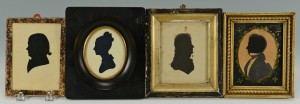 Lot 223: Four 19th c. Silhouettes, 3 Gents and 1 Woman