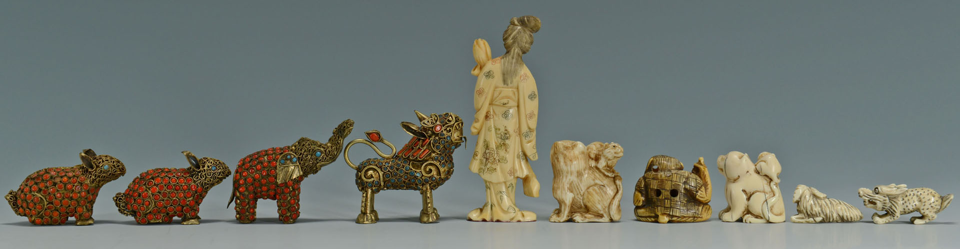 Small Chinese Filigree and Ivory Items, 10 pcs