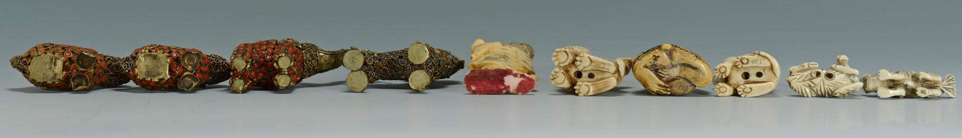 Lot 227: Small Chinese Filigree and Ivory Items, 10 pcs