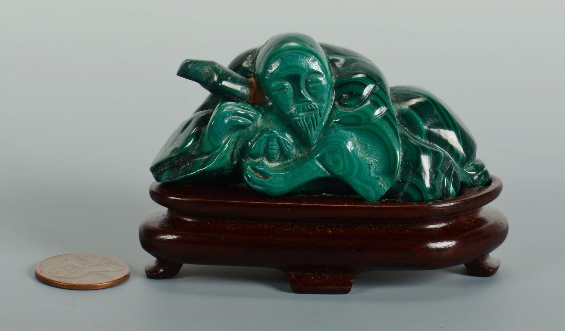 Lot 228: Chinese Green Malachite Figural Snuff Bottle