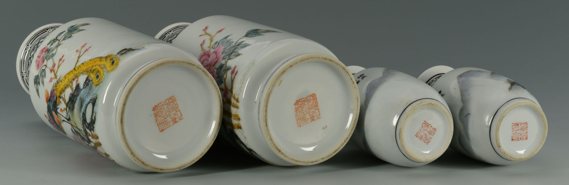 Lot 235: Set of 4 Chinese Republic Vases, birds of paradise