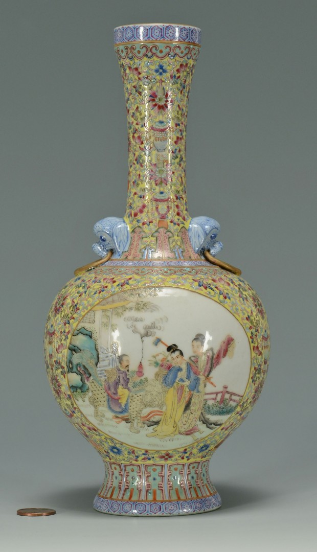 Lot 239: Chinese Famille Rose Porcelain Vase, Yellow Ground