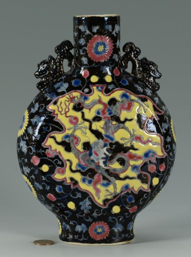 Chinese Famille Rose Pilgrim Flask w/ Dragon Decoration