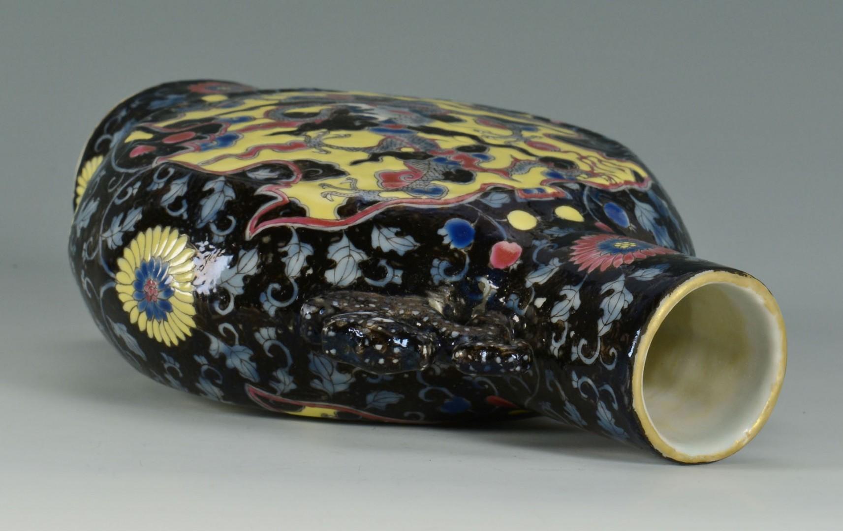 Lot 240: Chinese Famille Rose Pilgrim Flask w/ Dragon Decor