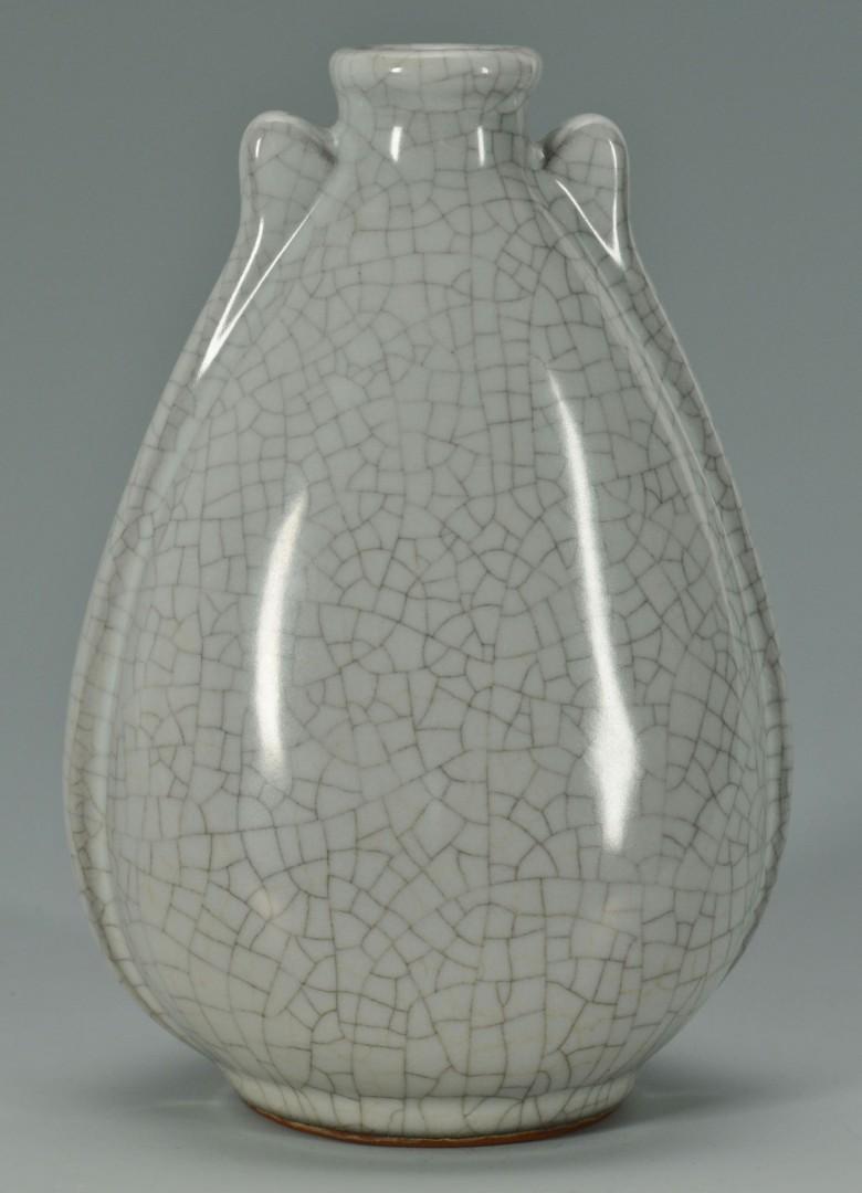 Lot 241: Chinese Celadon Porcelain Vase w/ Dragon Decoratio
