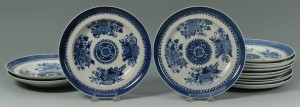 Lot 243: 13 Chinese Export Porcelain Blue Fitzhugh Items