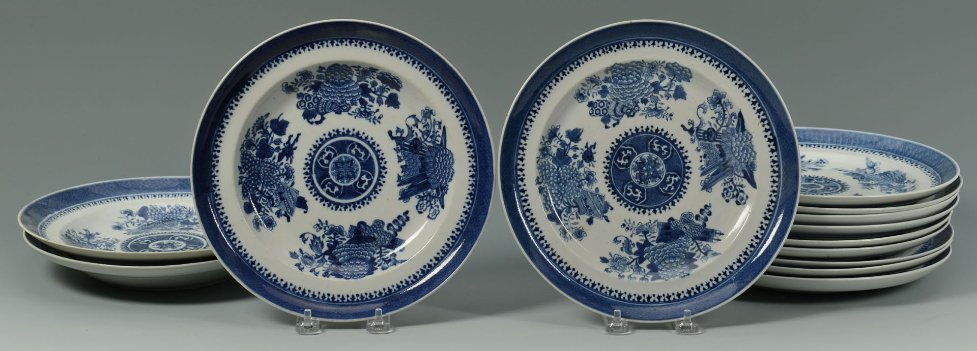 14 Chinese Export Porcelain Blue Fitzhugh Items
