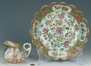Lot 245: 2 Chinese Rose Medallion Porcelain Items