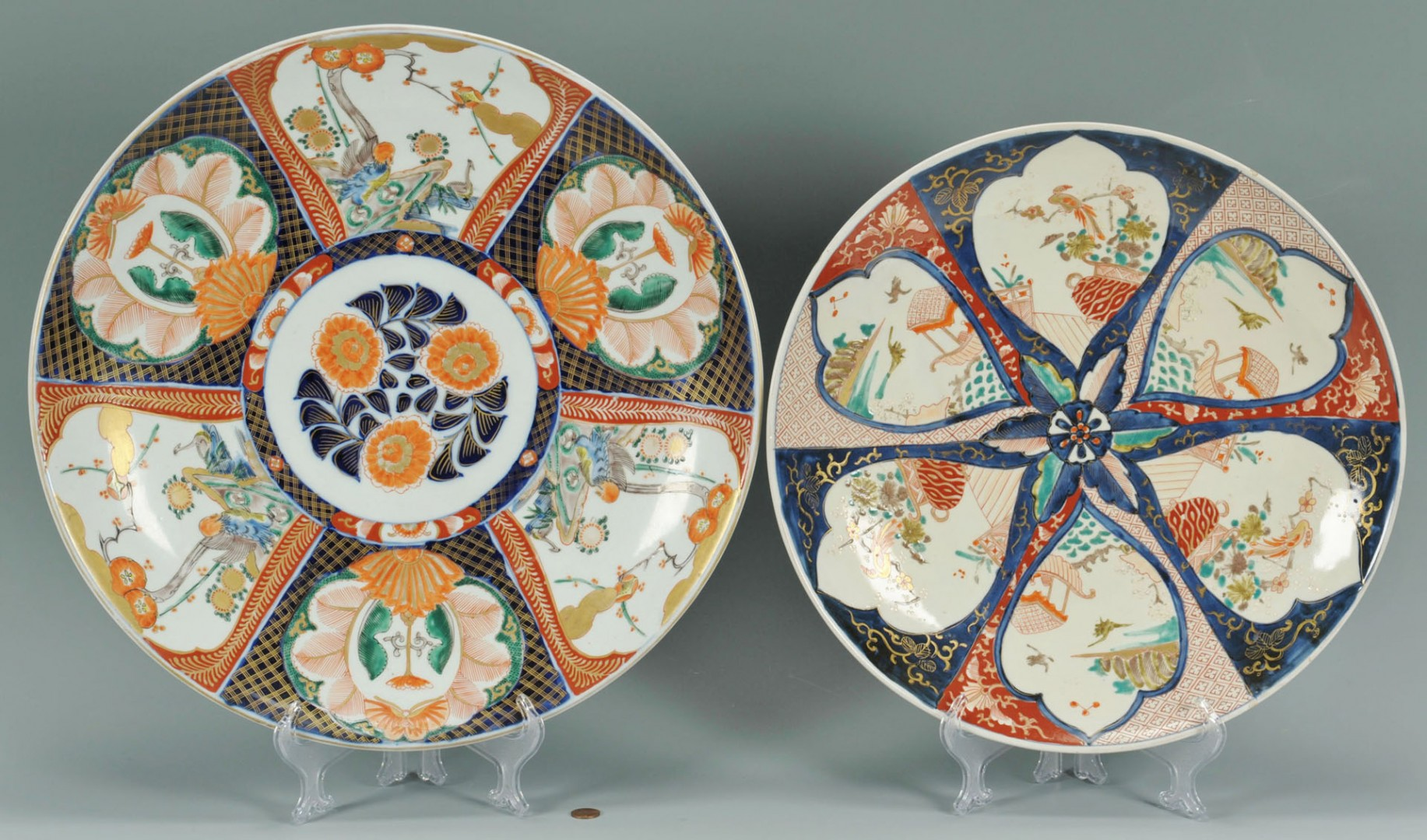 Lot 246: 2 large Japanese Imari Chargers, 19th c.