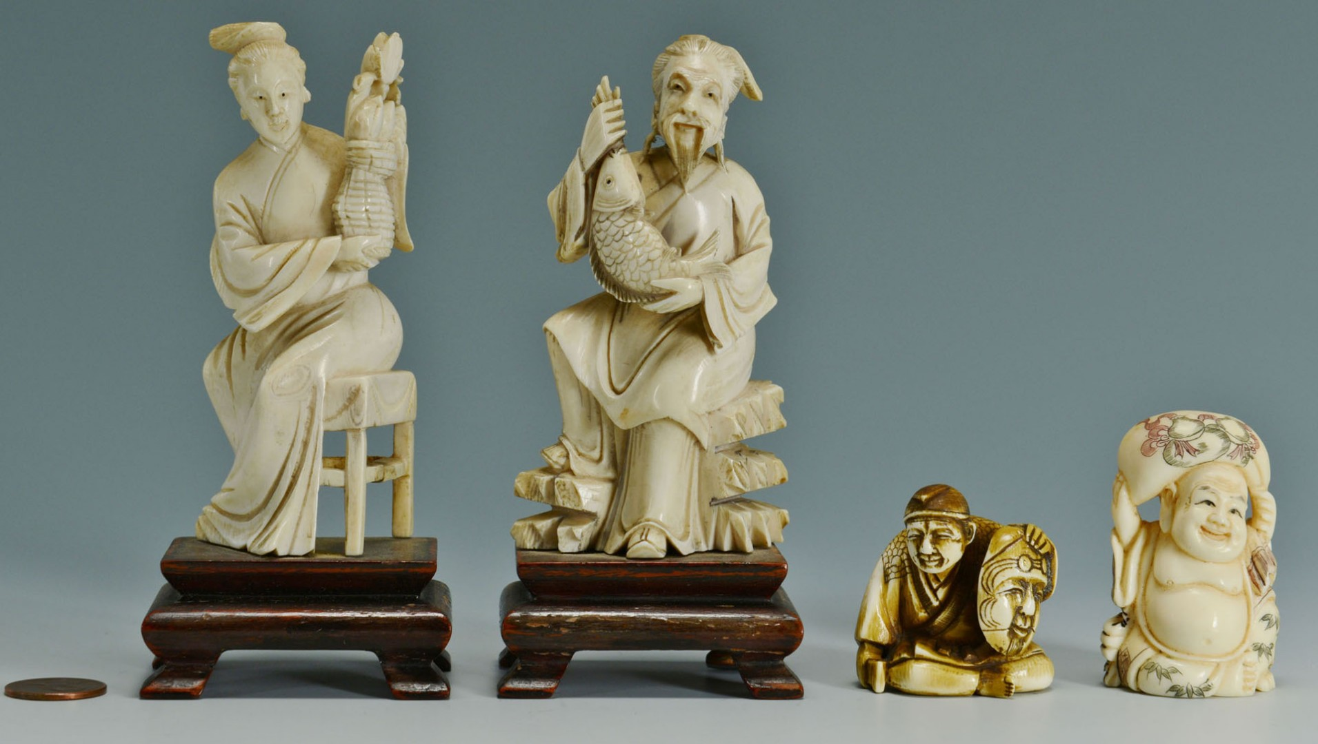 Lot 247: 2 Chinese Ivory Figures & 2 Ivory Netsukes