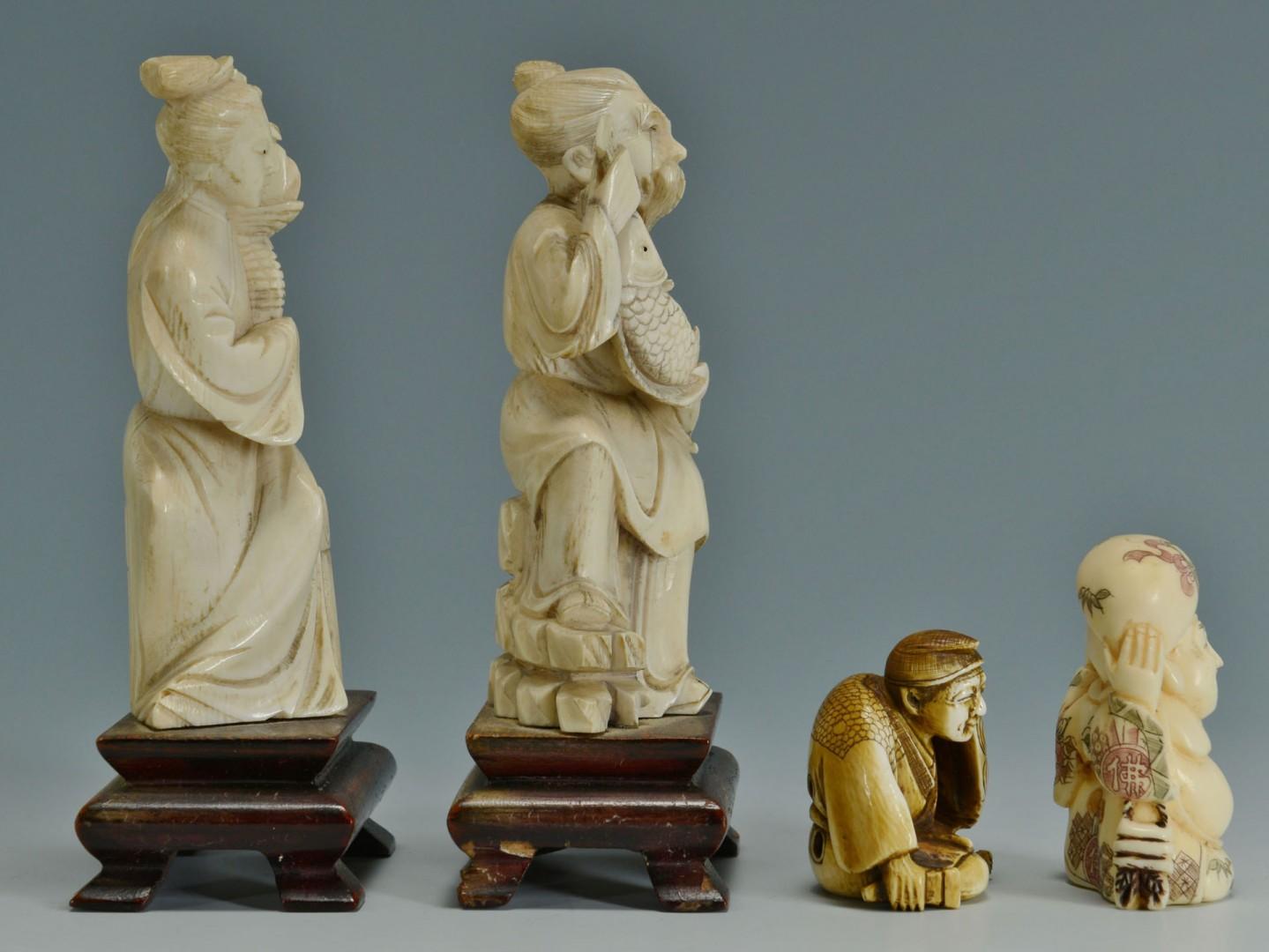 2 Chinese Ivory Figures & 2 Ivory Netsukes