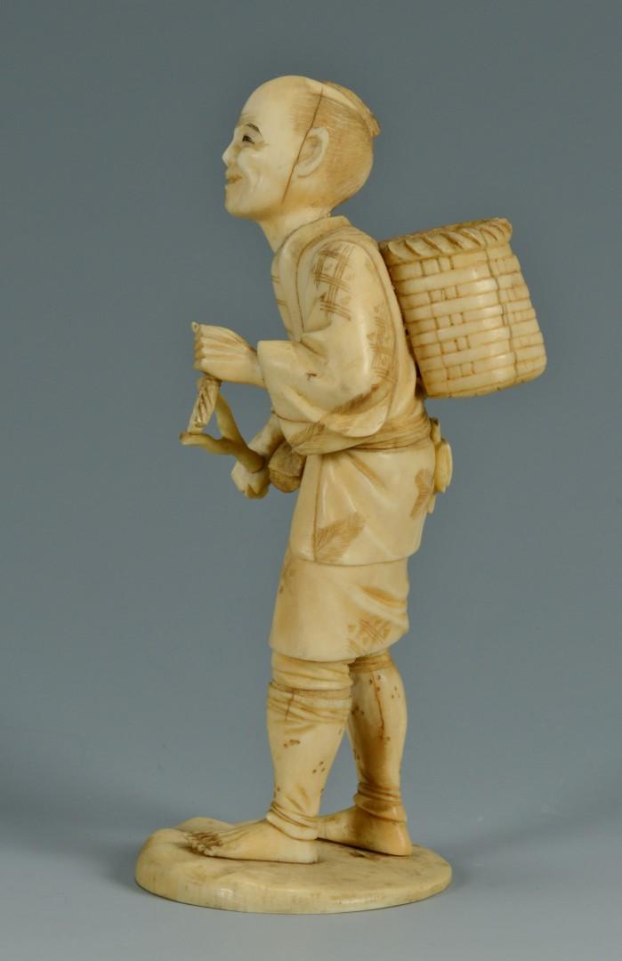 2 Ivory Okimono Figures, farmer and peddler