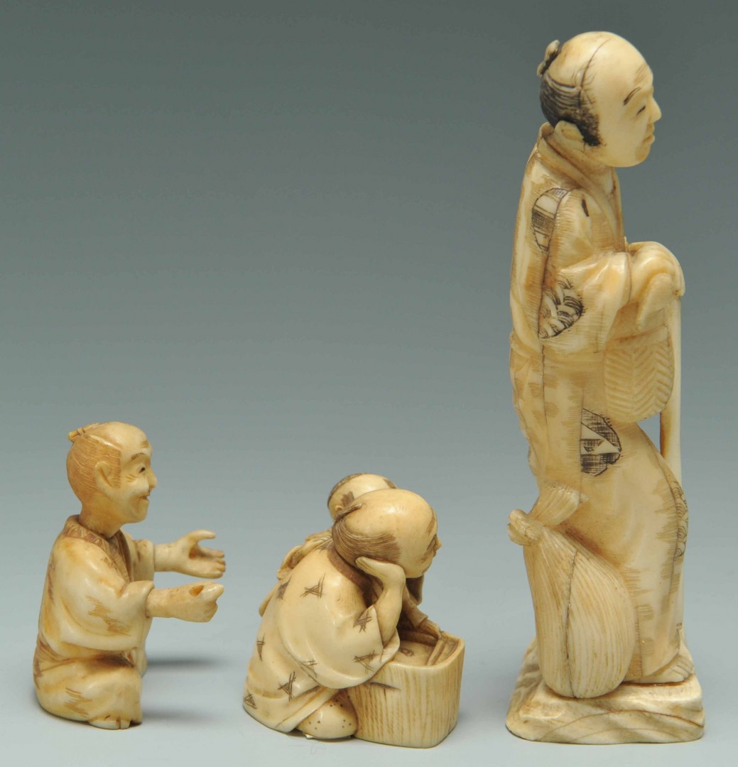 Lot 249: Group of 6 Japanese Carved Ivory Figure, inc. Gyok