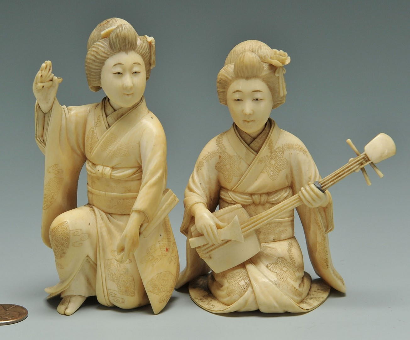 Lot 250: 2 Japanese Carved Ivory Female Figures