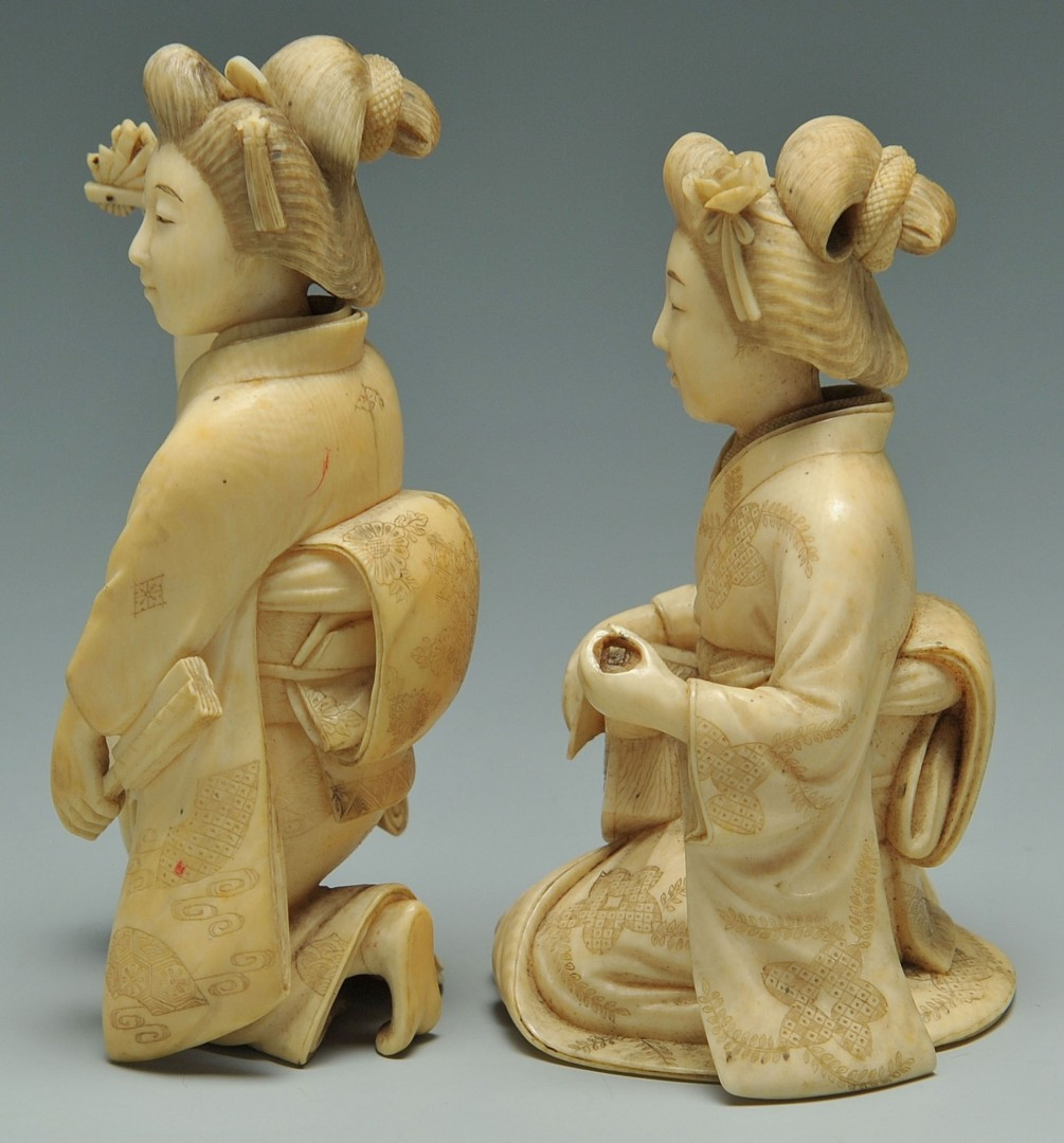 Lot 250: 2 Japanese Carved Ivory Female Figures