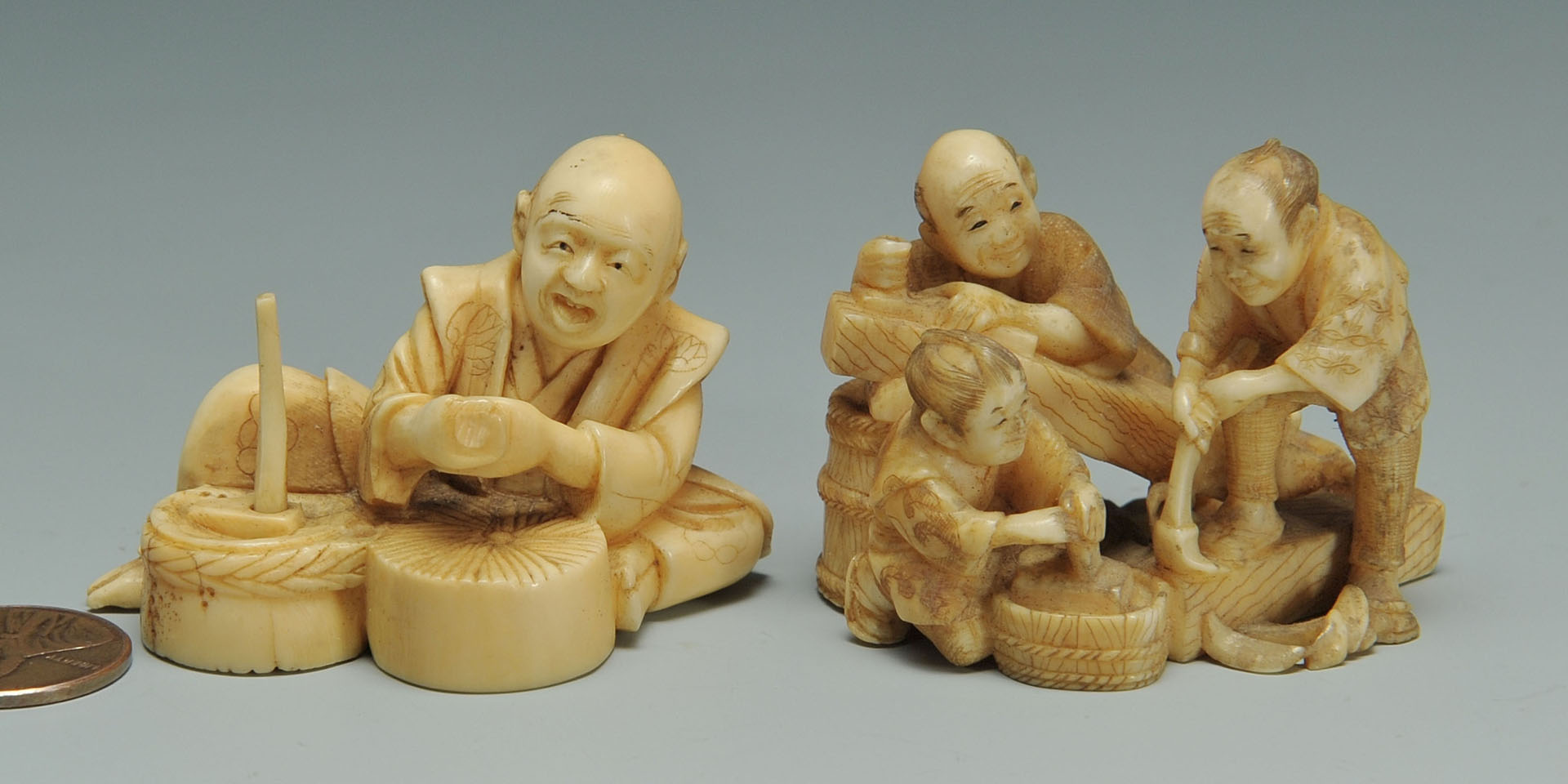 2 Japanese Ivory Okimono, grist and wood workers