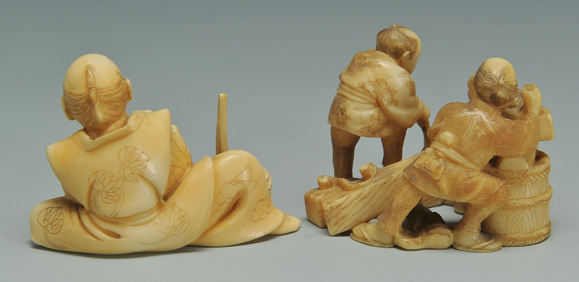 Lot 251: 2 Japanese Ivory Okimono, grist and wood workers