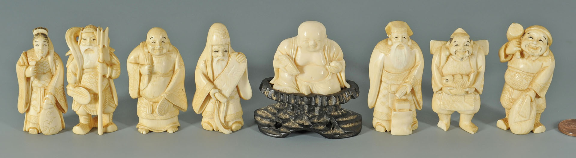 8 Chinese Carved Ivory Figures