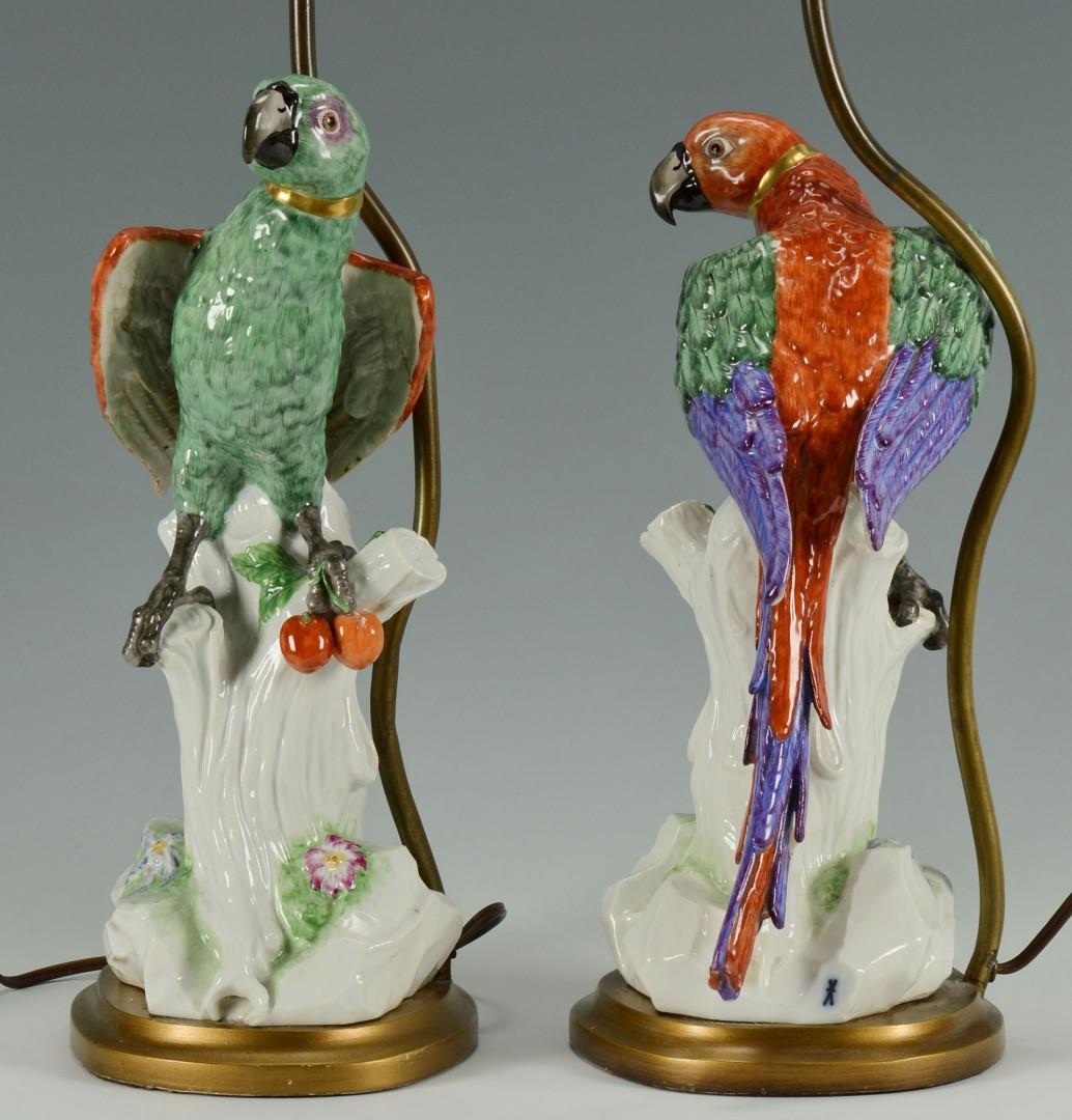 Lot 258: Pair Meissen style porcelain parrot lamps