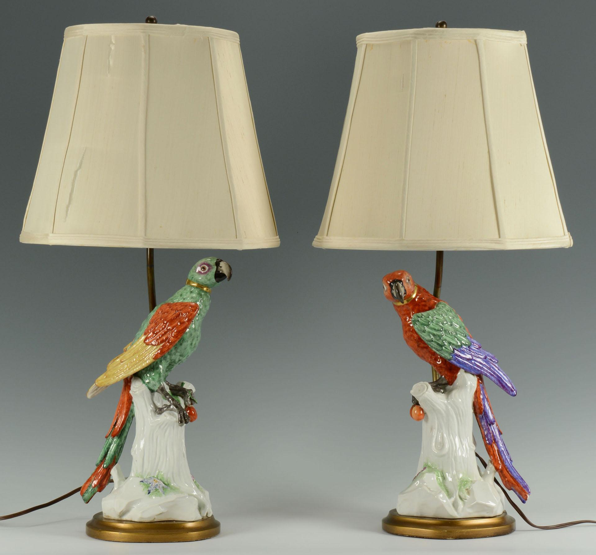 Attractive Lot 258: Pair Meissen Style Porcelain Parrot Lamps
