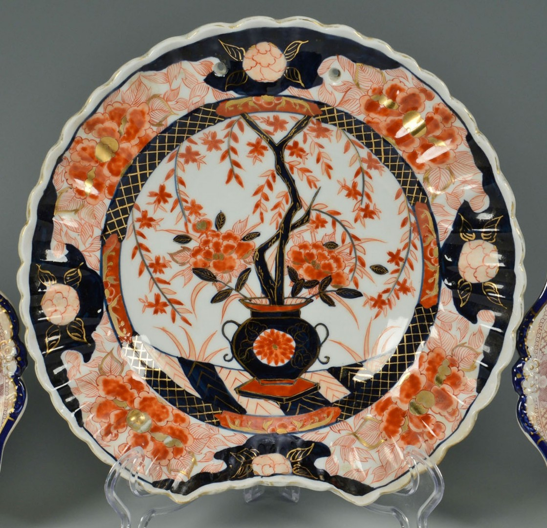 Lot 25: Imari Barber Bowl and Pair of English Imari Plates