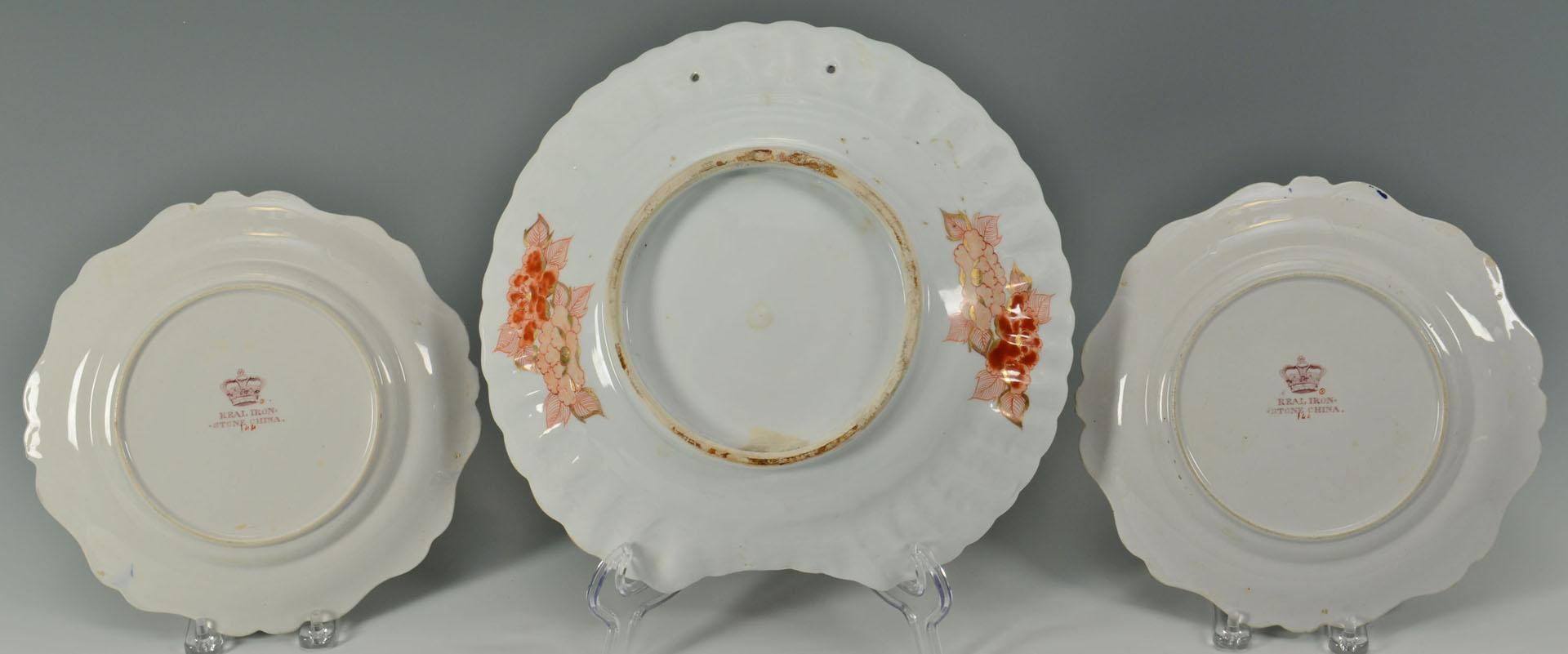 Lot 25: Imari Barber Bowl and Pair of English Imari Plates