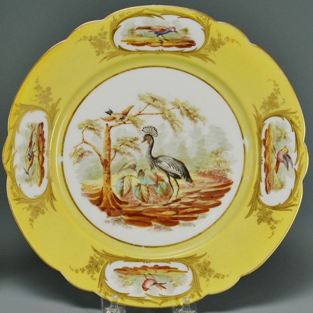 Pair of French Porcelain Bird Plates