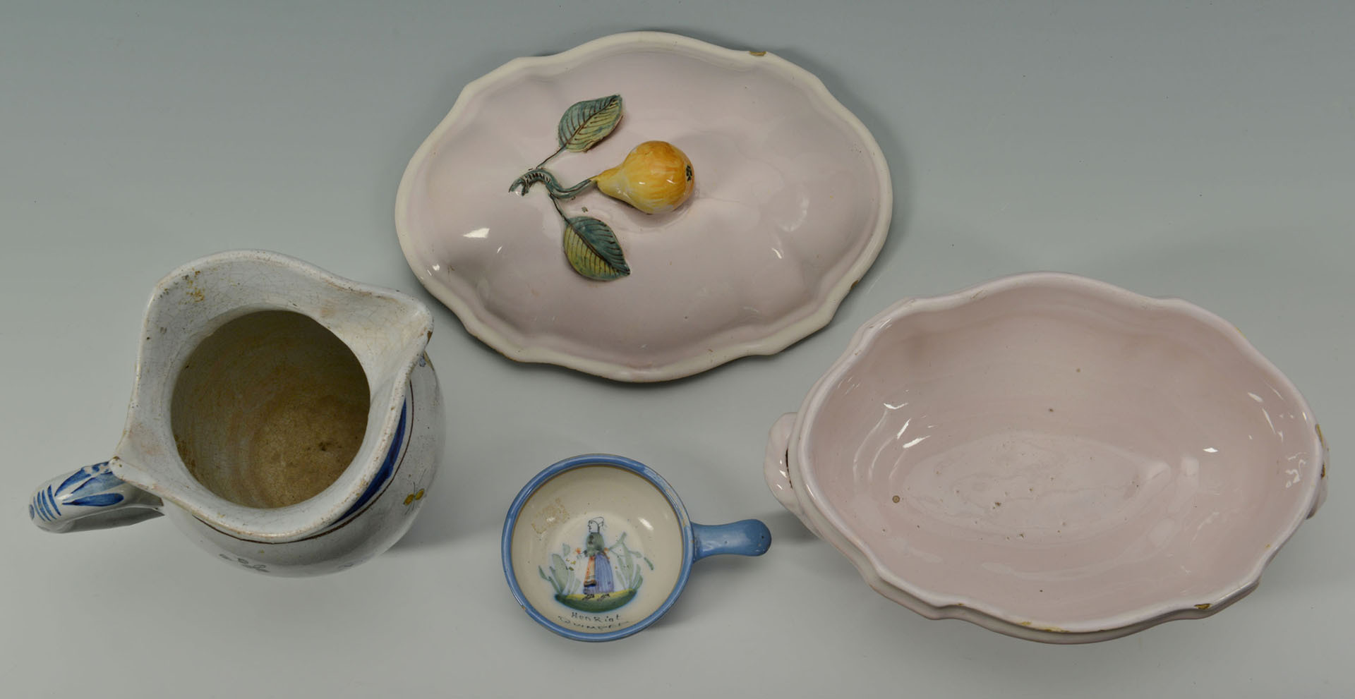 4 French Faience Pottery Items