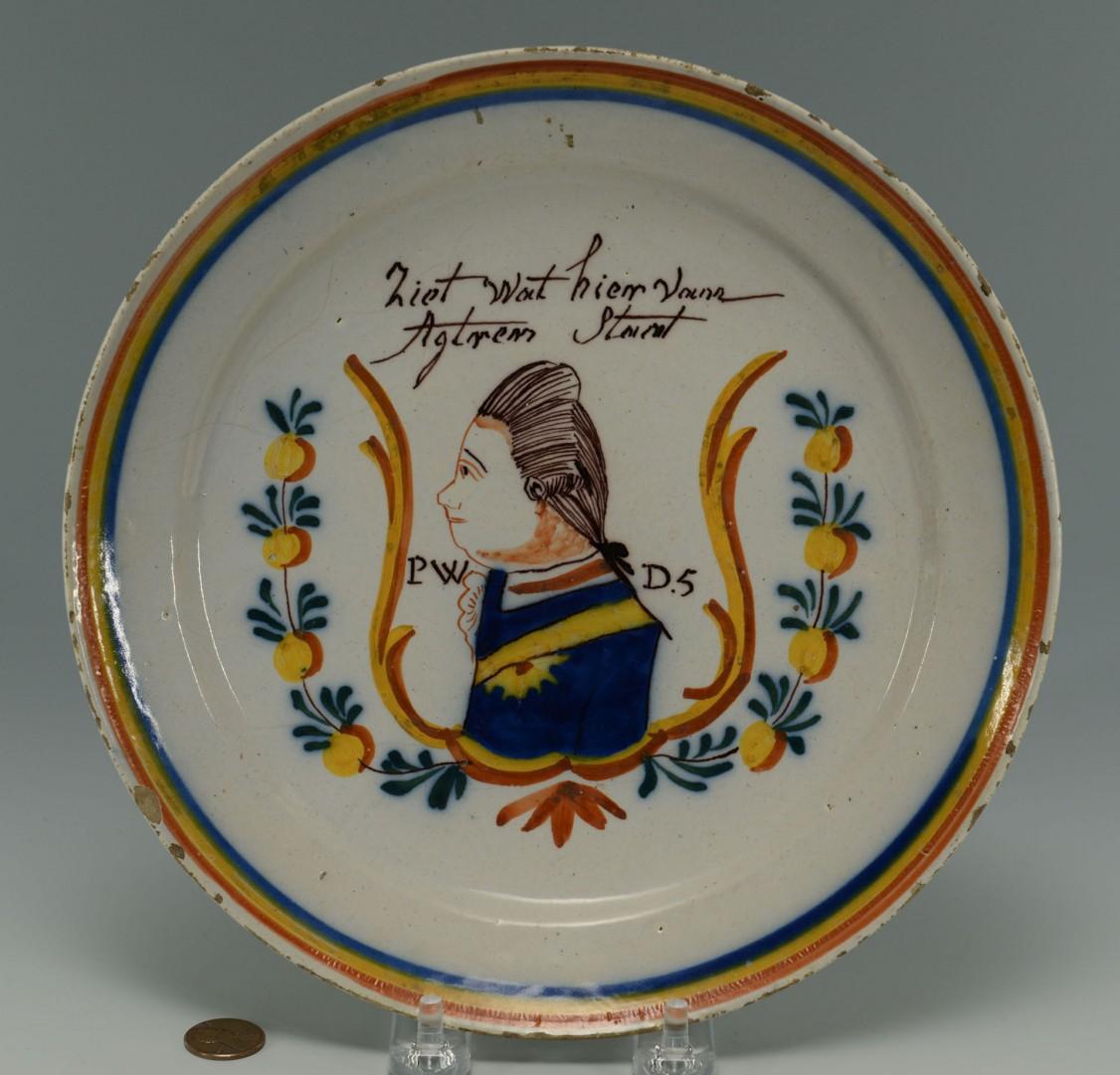 18th Cent. Delft Portrait Plate, King William
