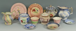 Lot 264: Large Grouping of Spatterware, 12 items