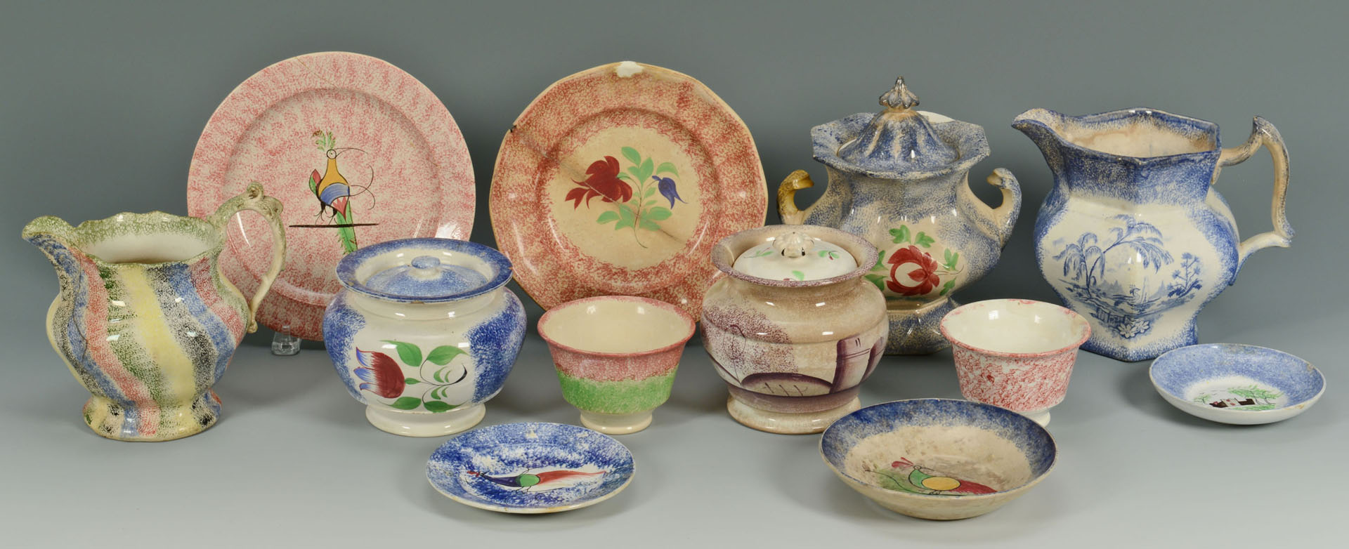 Large Grouping of Spatterware, 12 items