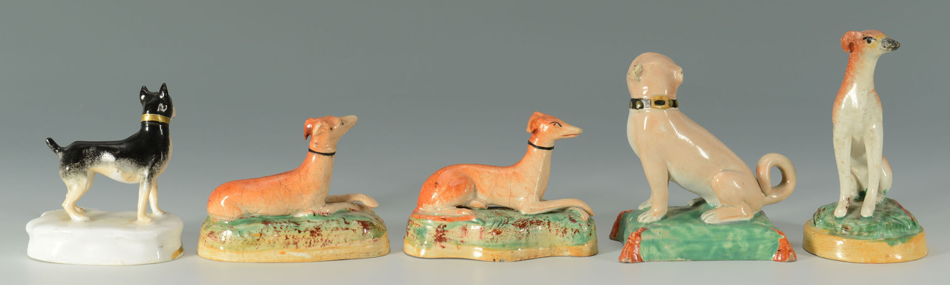 5 English Dog figurines