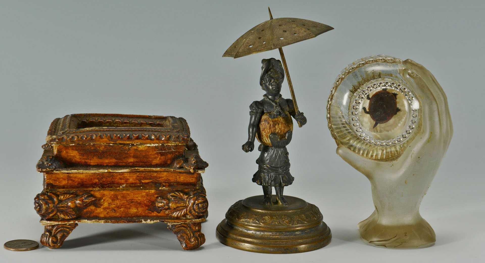 3 Victorian Novelty Items, inc. paperweight