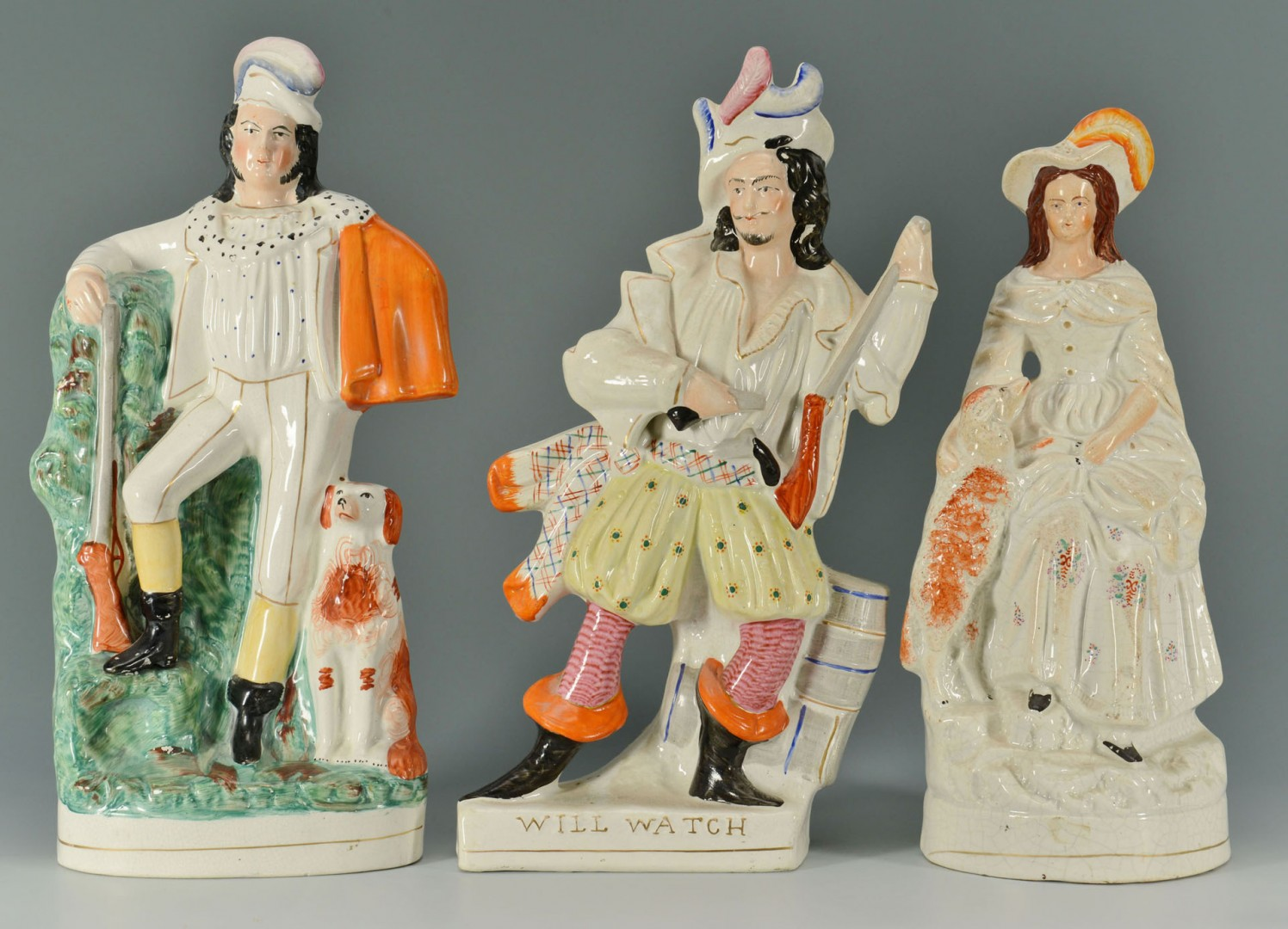 3 Large Staffordshire Figures