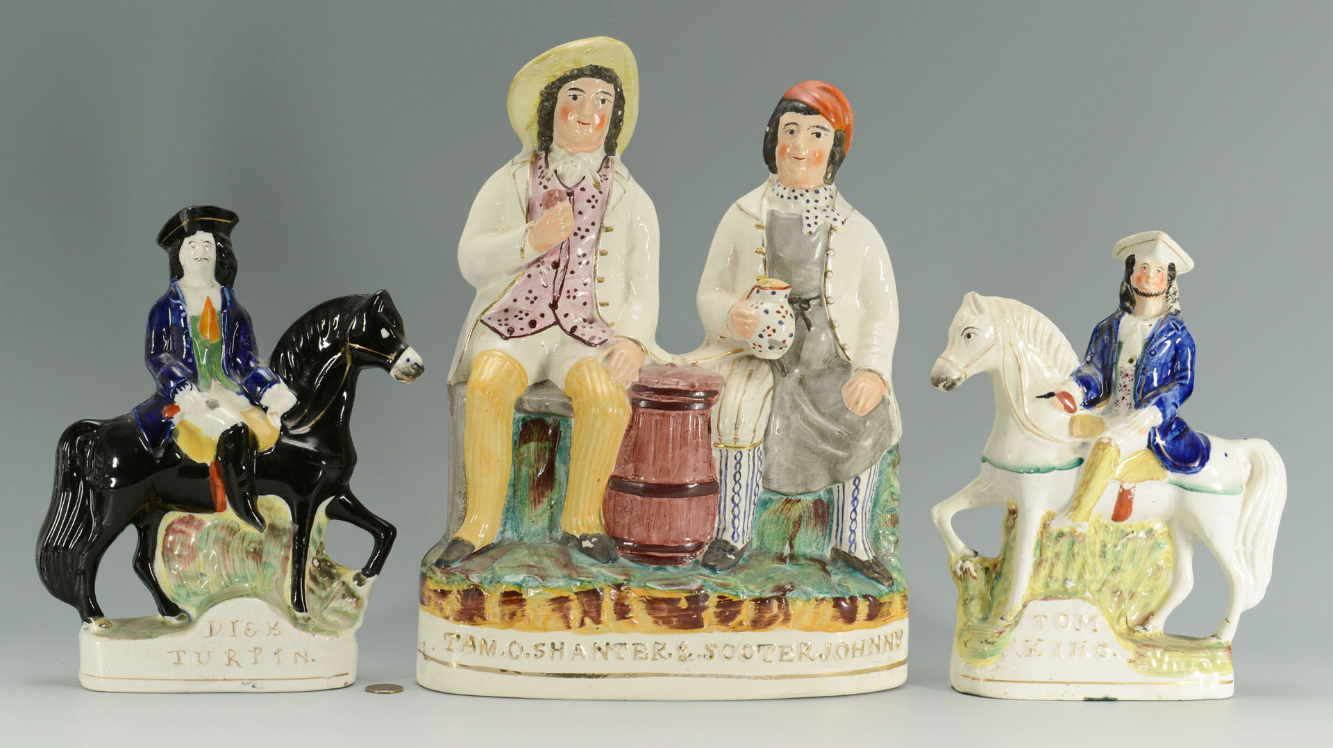 3 Staffordshire figures; Turpin, King, Tam O'Shanter