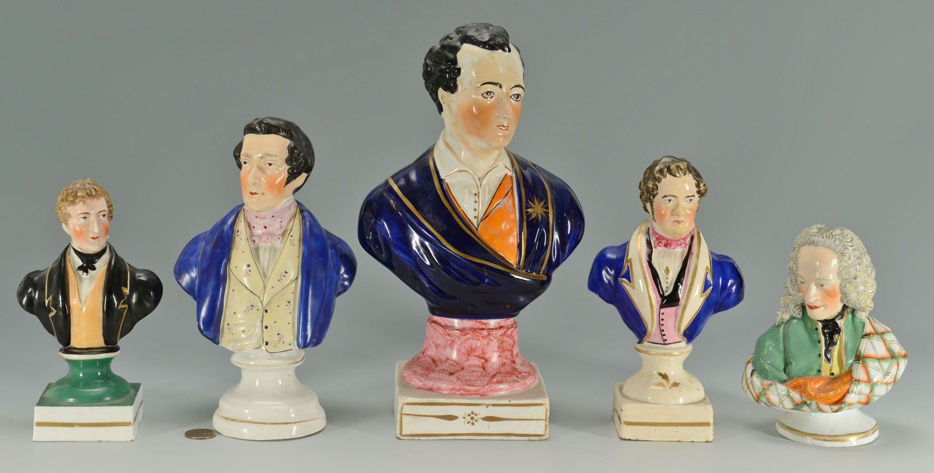 Lot 275: 5 Staffordshire Historical Busts