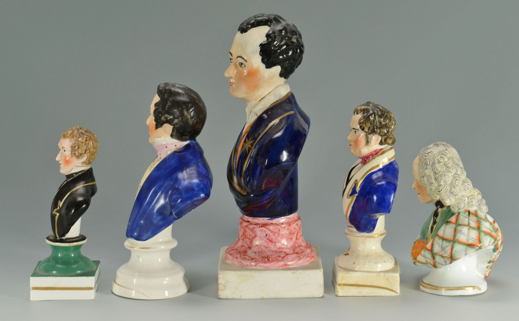5 Staffordshire Historical Busts