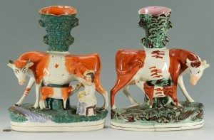 Lot 276: 2 Staffordshire Cow Spill Vases