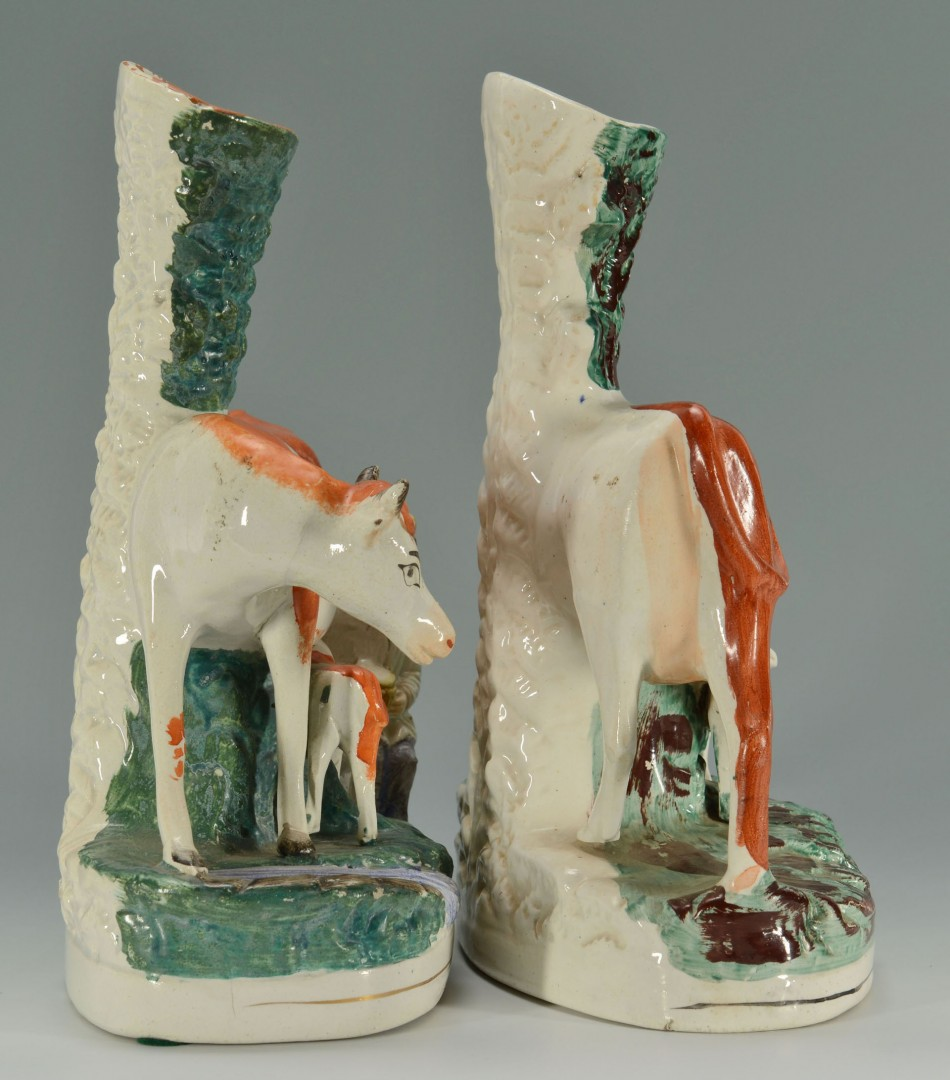 2 Staffordshire Cow Spill Vases