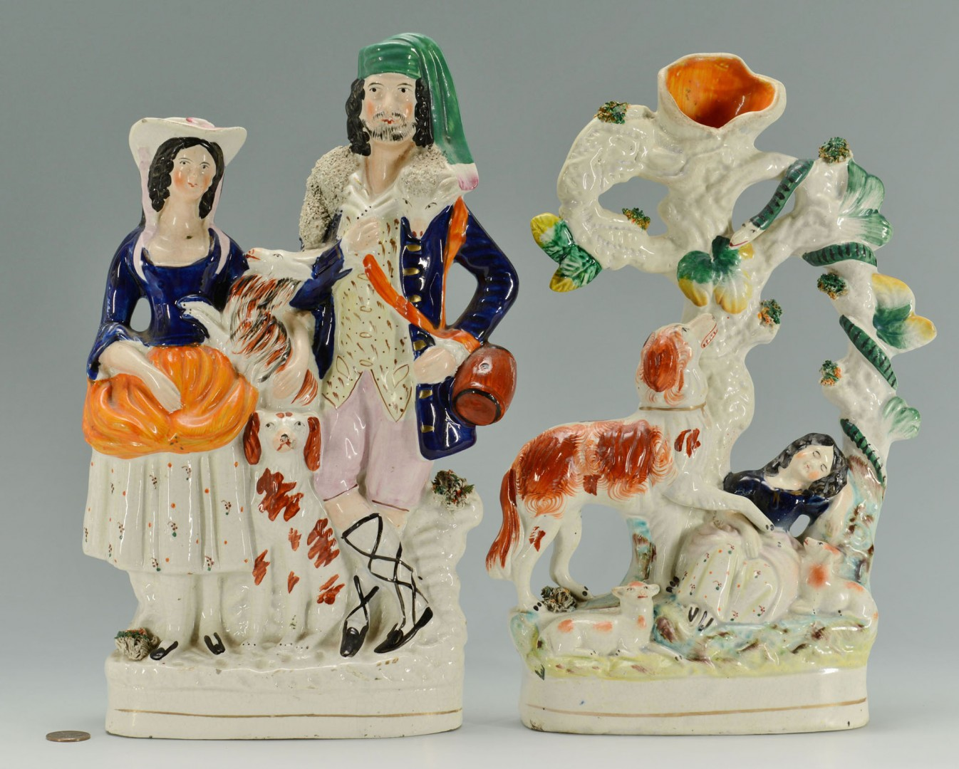 Lot 277: 2 Staffordshire Figural Groups, people and animals