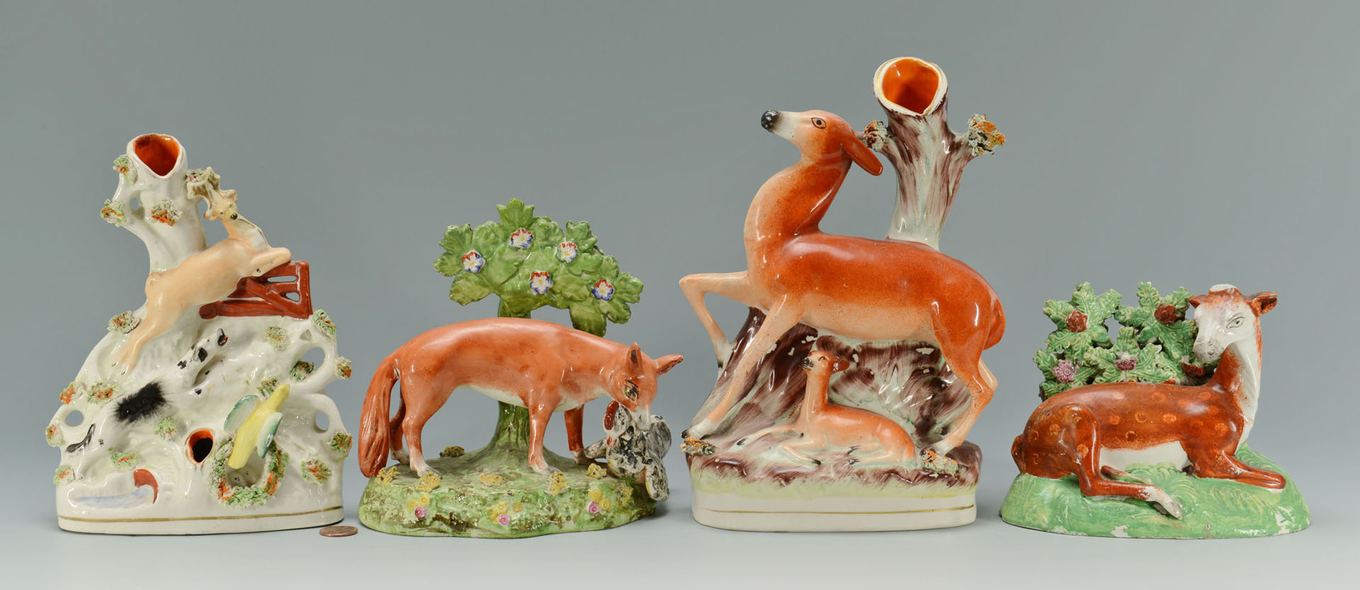 4 Staffordshire Pottery Animal Figures