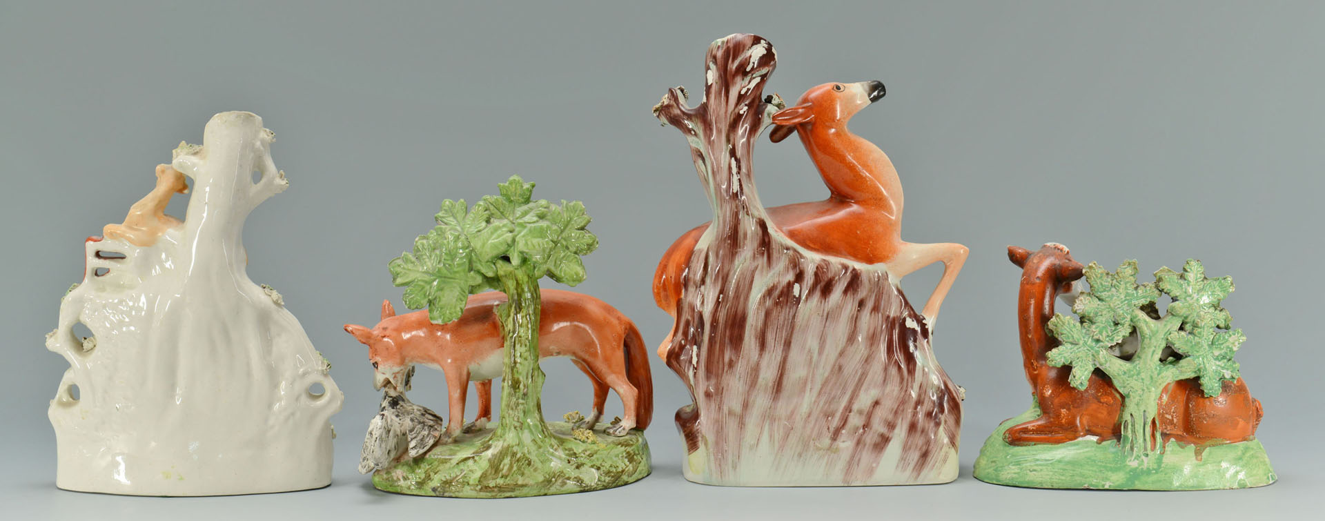 Lot 278: 4 Staffordshire Pottery Animal Figures